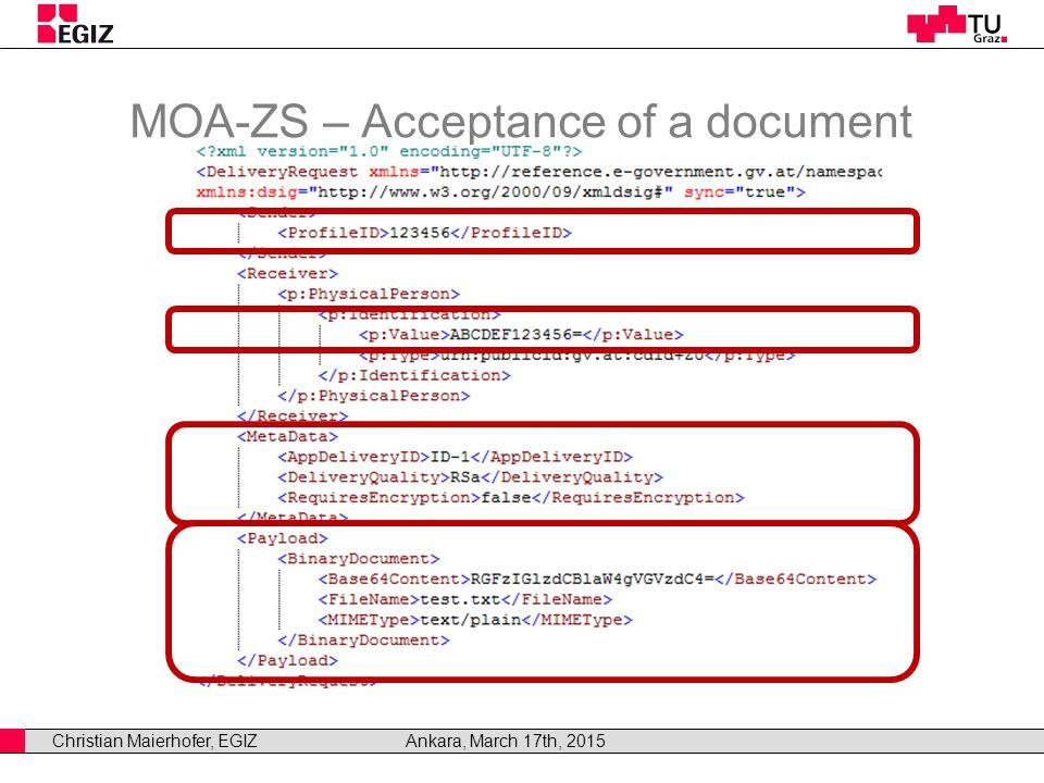Christian Maierhofer, EGIZAnkara, March 17th, 2015 MOA-ZS – Acceptance of a document