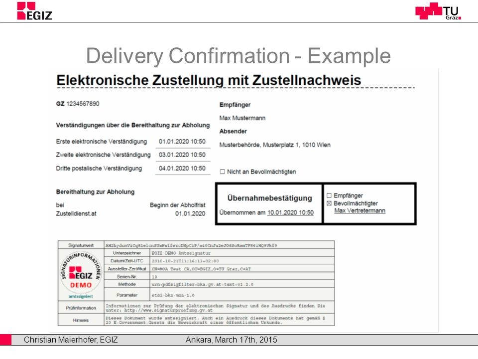 Christian Maierhofer, EGIZAnkara, March 17th, 2015 Delivery Confirmation - Example