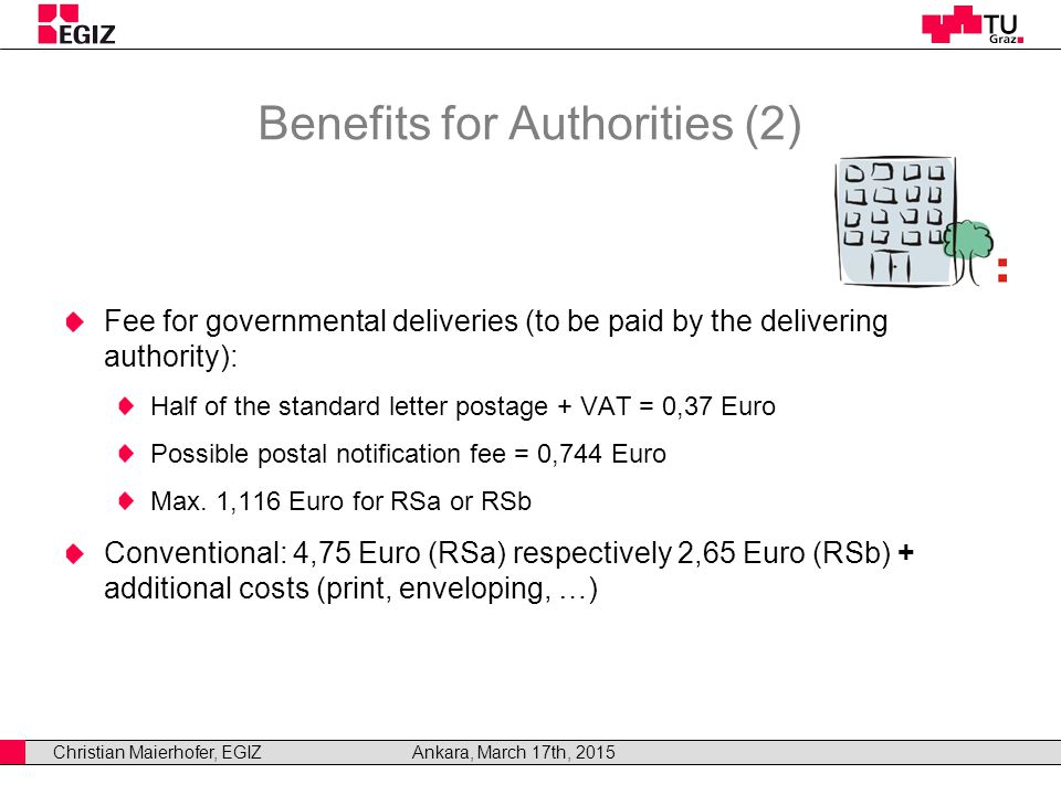 Christian Maierhofer, EGIZAnkara, March 17th, 2015 Benefits for Authorities (2) Fee for governmental deliveries (to be paid by the delivering authority): Half of the standard letter postage + VAT = 0,37 Euro Possible postal notification fee = 0,744 Euro Max.