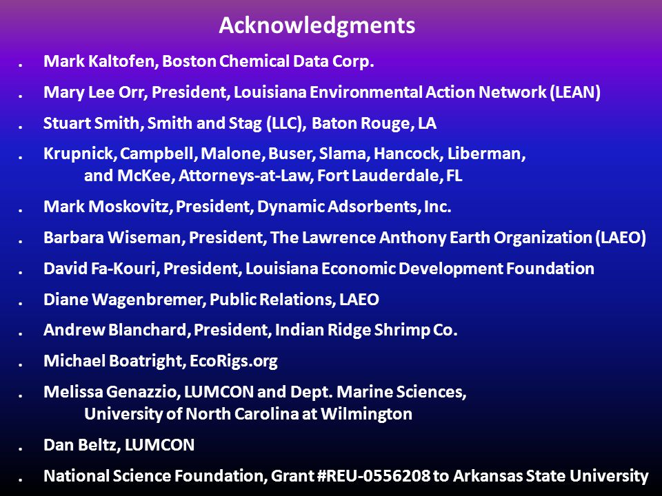 Acknowledgments. Mark Kaltofen, Boston Chemical Data Corp..