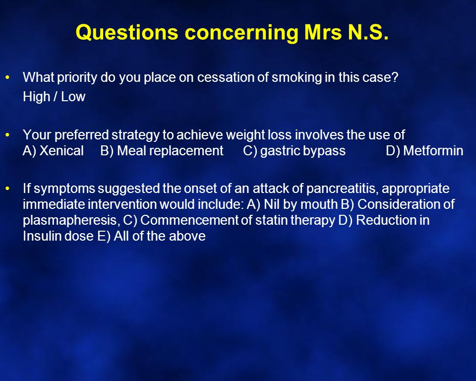 Questions concerning Mrs N.S. What priority do you place on cessation of smoking in this case.