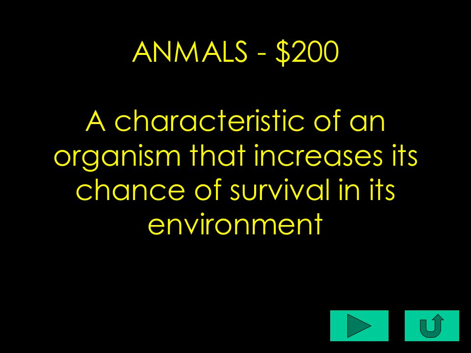 C1-$200 ANMALS - $200 A characteristic of an organism that increases its chance of survival in its environment