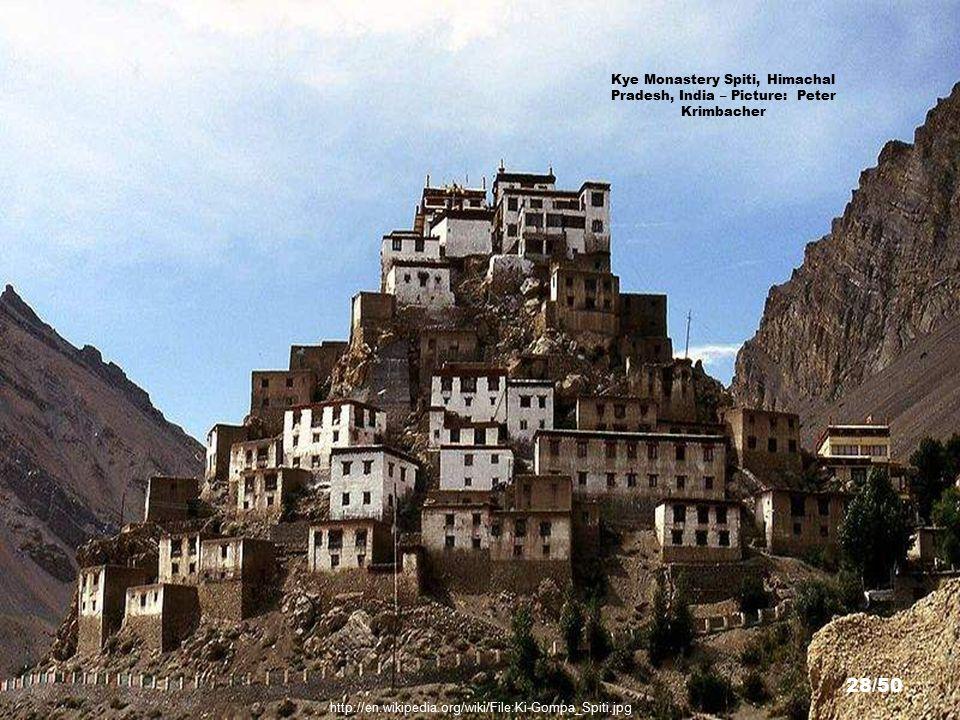 Kye Monastery Spiti, Himachal Pradesh, India – Picture: 4ocima 27/50 http://en.wikipedia.org/wiki/File:Ki_Monastery.jpg