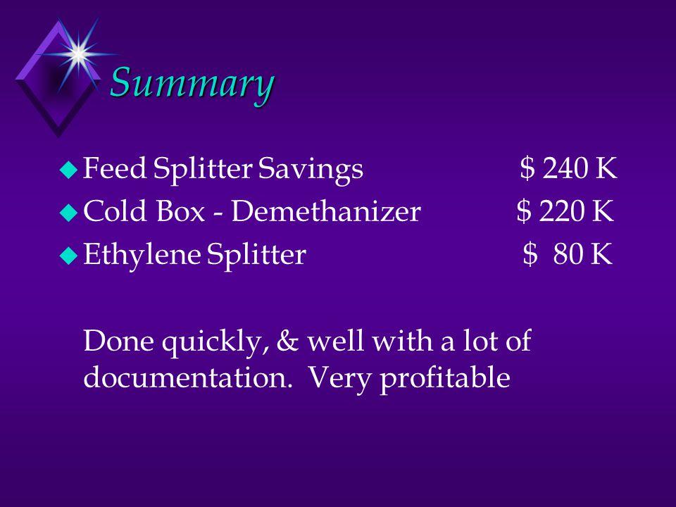 Summary u Feed Splitter Savings $ 240 K u Cold Box - Demethanizer $ 220 K u Ethylene Splitter $ 80 K Done quickly, & well with a lot of documentation.