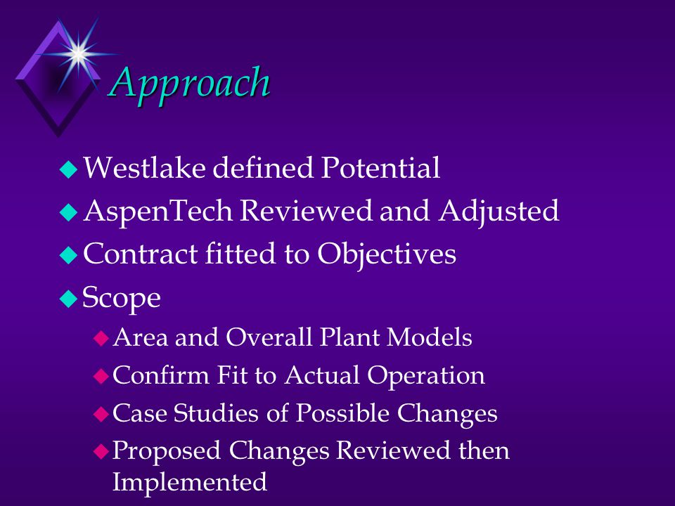Approach u Westlake defined Potential u AspenTech Reviewed and Adjusted u Contract fitted to Objectives u Scope u Area and Overall Plant Models u Conf