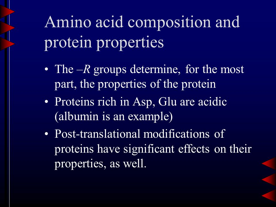 Amino acid composition and protein properties The –R groups determine, for the most part, the properties of the protein Proteins rich in Asp, Glu are acidic (albumin is an example) Post-translational modifications of proteins have significant effects on their properties, as well.