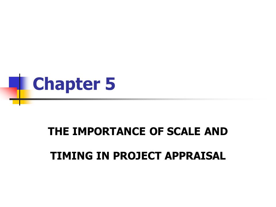 Chapter 5 THE IMPORTANCE OF SCALE AND TIMING IN PROJECT APPRAISAL