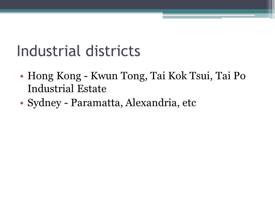 Industrial districts Hong Kong - Kwun Tong, Tai Kok Tsui, Tai Po Industrial Estate Sydney - Paramatta, Alexandria, etc