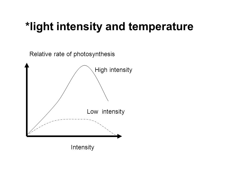 *light intensity and temperature Relative rate of photosynthesis Intensity High intensity Low intensity
