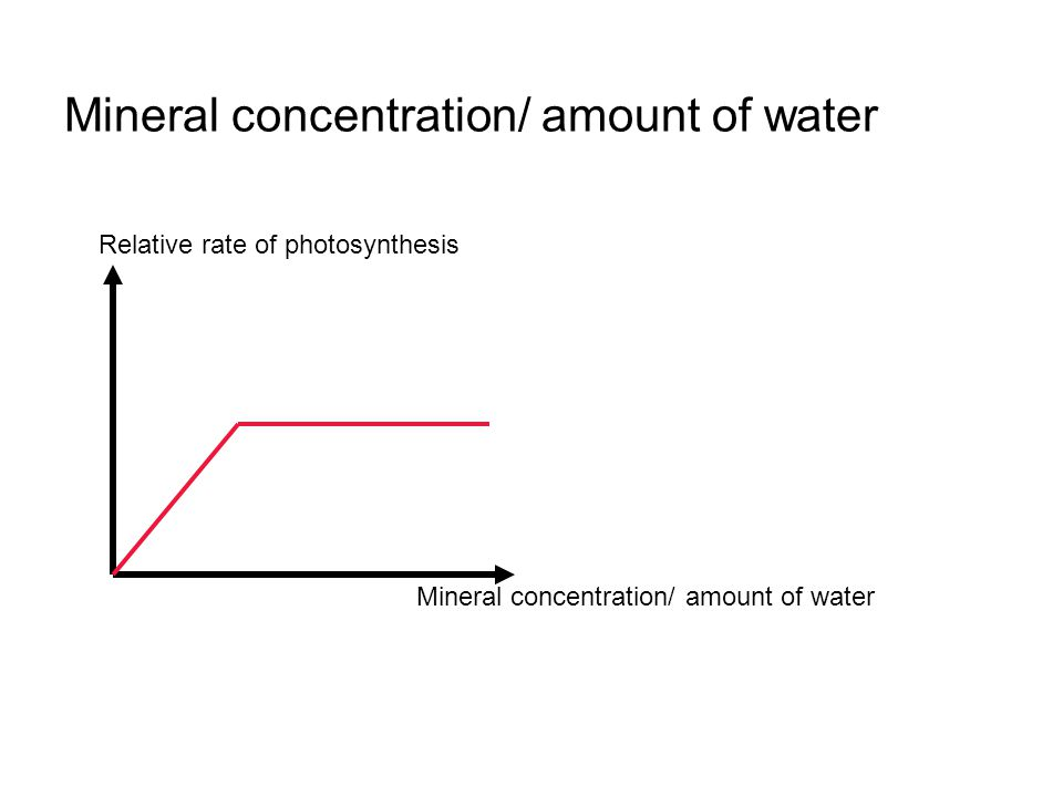 Mineral concentration/ amount of water Relative rate of photosynthesis Mineral concentration/ amount of water