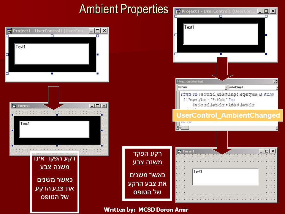 Ambient Properties Written by: MCSD Doron Amir רקע הפקד משנה צבע כאשר משנים את צבע הרקע של הטופס רקע הפקד אינו משנה צבע כאשר משנים את צבע הרקע של הטופס UserControl_AmbientChanged