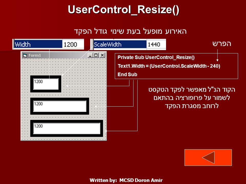 UserControl_Resize() Written by: MCSD Doron Amir Private Sub UserControl_Resize() Text1.Width = (UserControl.ScaleWidth - 240) End Sub האירוע מופעל בעת שינוי גודל הפקד הקוד הנ ל מאפשר לפקד הטקסט לשמור על פרופורציה בהתאם לרוחב מסגרת הפקד הפרש