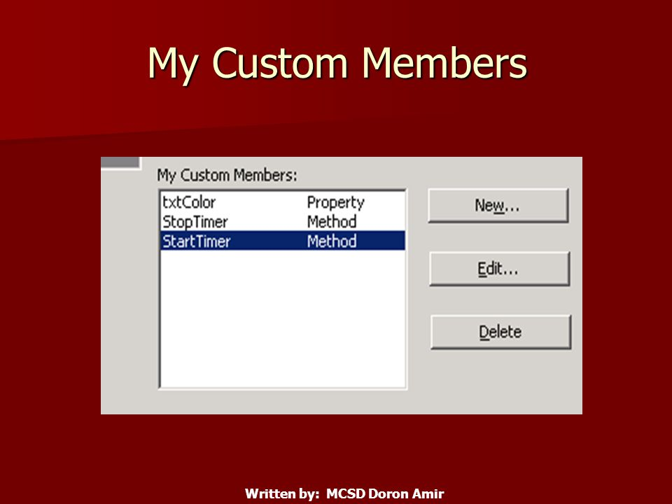 My Custom Members Written by: MCSD Doron Amir