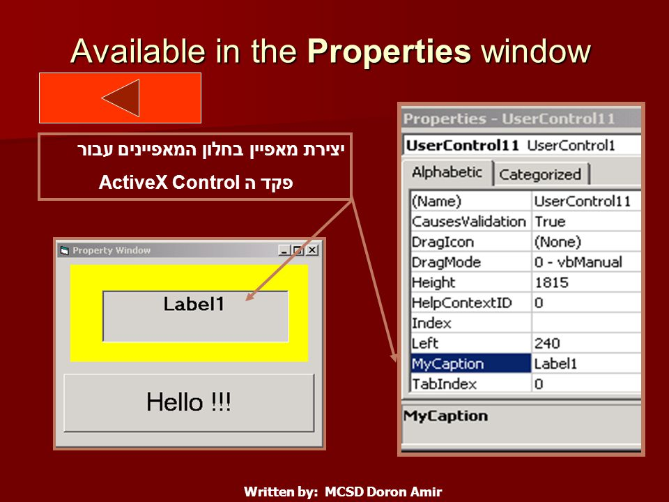 Available in the Properties window Written by: MCSD Doron Amir יצירת מאפיין בחלון המאפיינים עבור פקד ה ActiveX Control
