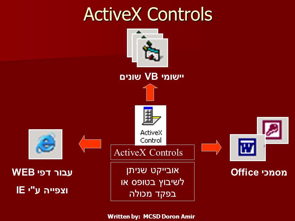 ActiveX Controls יישומי VB שונים עבור דפי WEB וצפייה ע י IE מסמכי Office Written by: MCSD Doron Amir אובייקט שניתן לשיבוץ בטופס או בפקד מכולה
