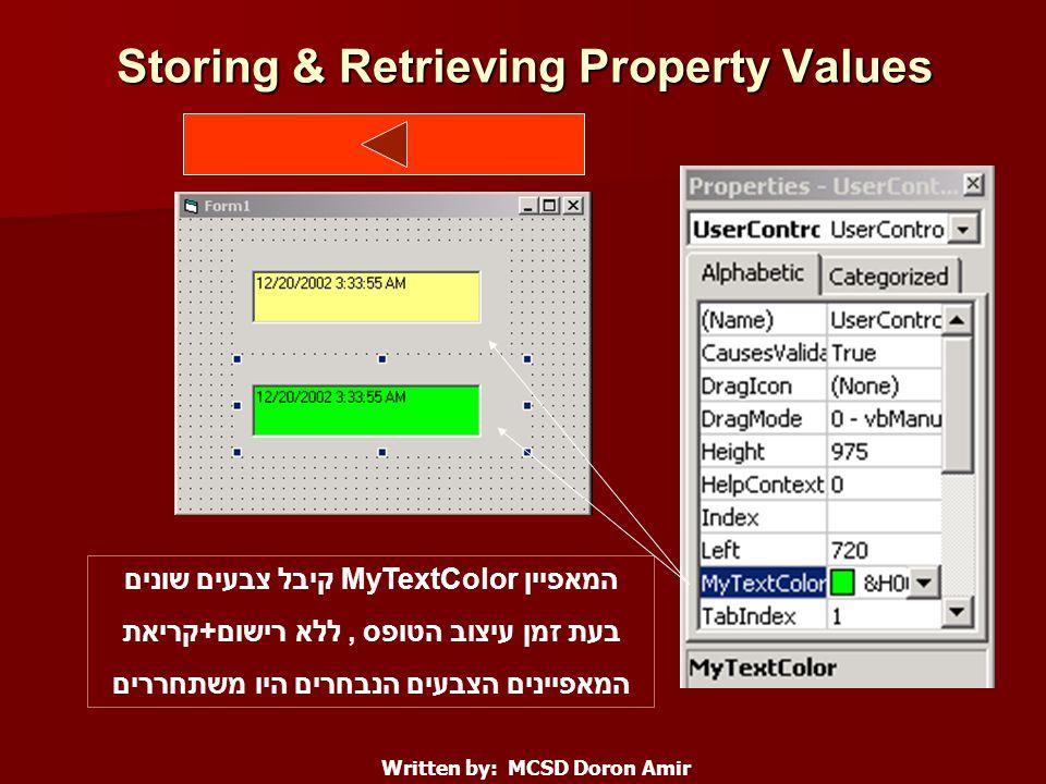 Storing & Retrieving Property Values Written by: MCSD Doron Amir המאפיין MyTextColor קיבל צבעים שונים בעת זמן עיצוב הטופס, ללא רישום+קריאת המאפיינים הצבעים הנבחרים היו משתחררים