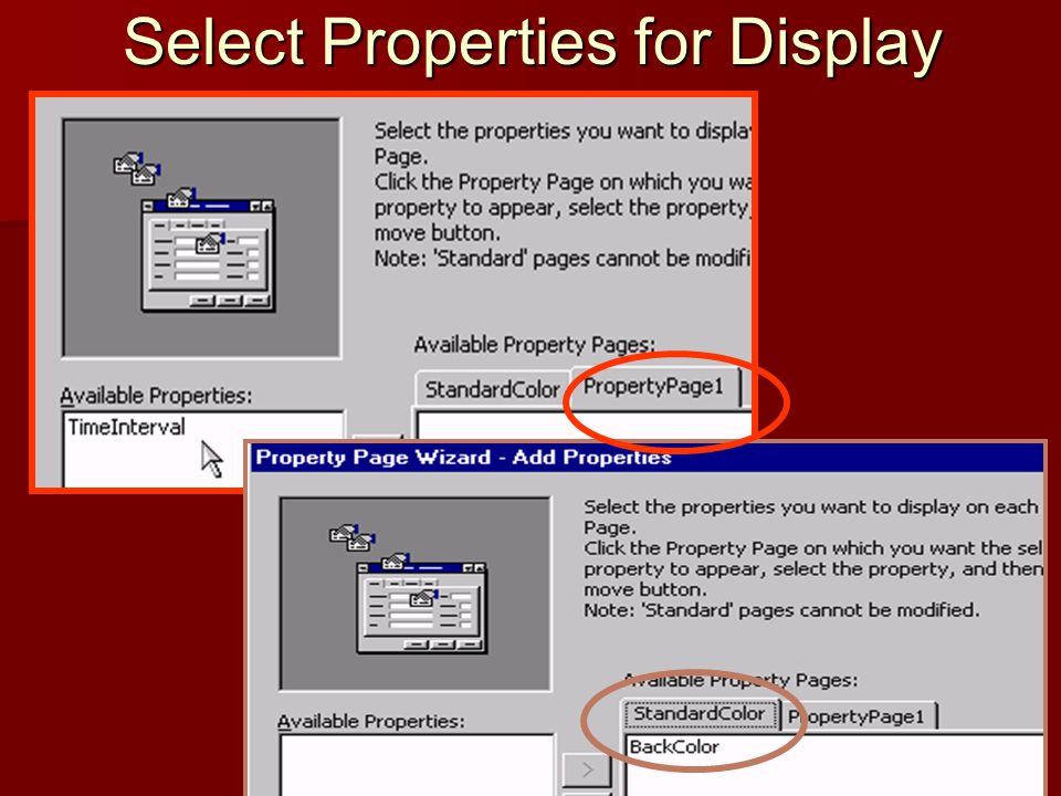 Select Properties for Display