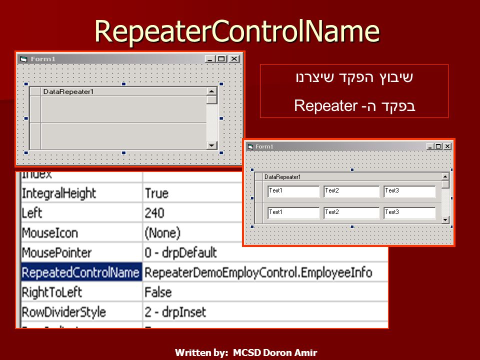 RepeaterControlName שיבוץ הפקד שיצרנו בפקד ה- Repeater Written by: MCSD Doron Amir