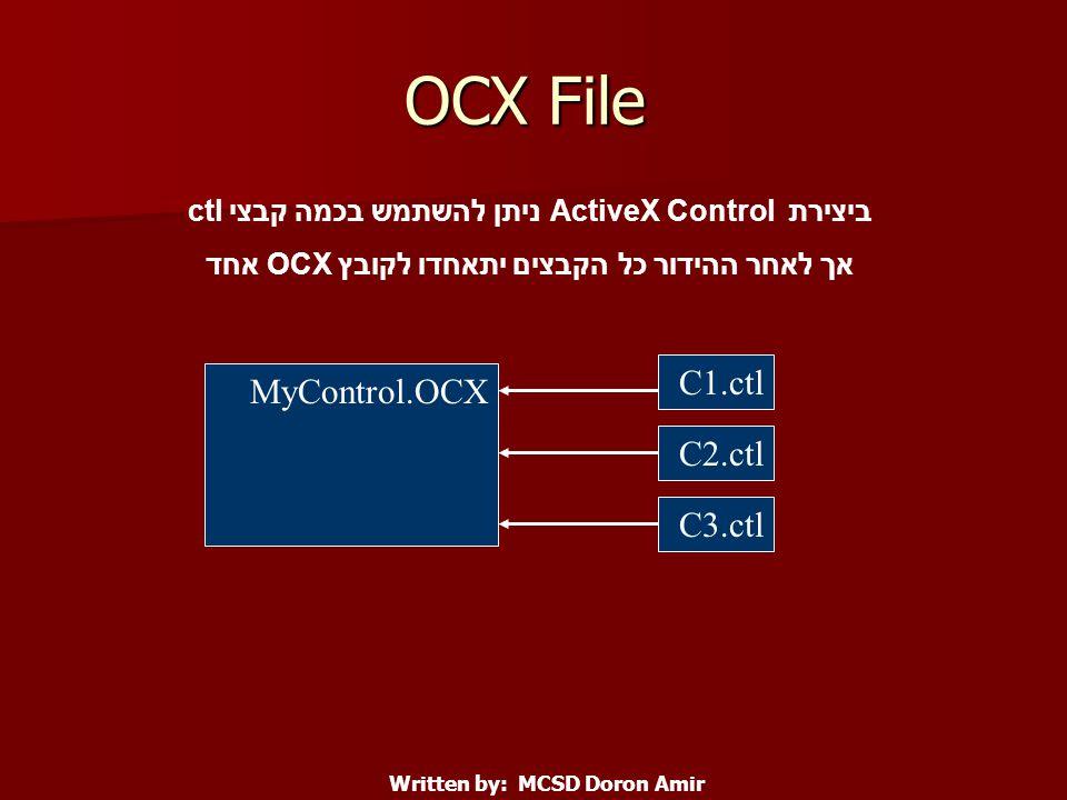 OCX File C1.ctl C2.ctl C3.ctl MyControl.OCX ביצירת ActiveX Control ניתן להשתמש בכמה קבצי ctl אך לאחר ההידור כל הקבצים יתאחדו לקובץ OCX אחד