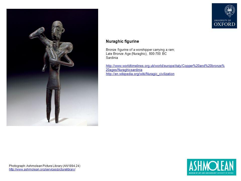 Nuraghic figurine Bronze figurine of a worshipper carrying a ram; Late Bronze Age (Nuraghic), 800-700 BC Sardinia http://www.worldtimelines.org.uk/wor