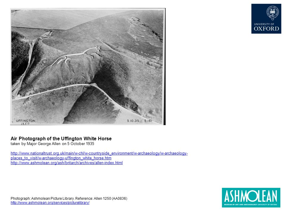 Air Photograph of the Uffington White Horse taken by Major George Allen on 5 October 1935 http://www.nationaltrust.org.uk/main/w-chl/w-countryside_env