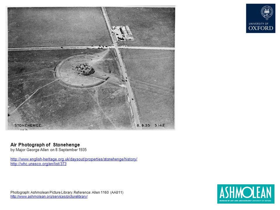 Air Photograph of Stonehenge by Major George Allen on 8 September 1935 http://www.english-heritage.org.uk/daysout/properties/stonehenge/history/ http: