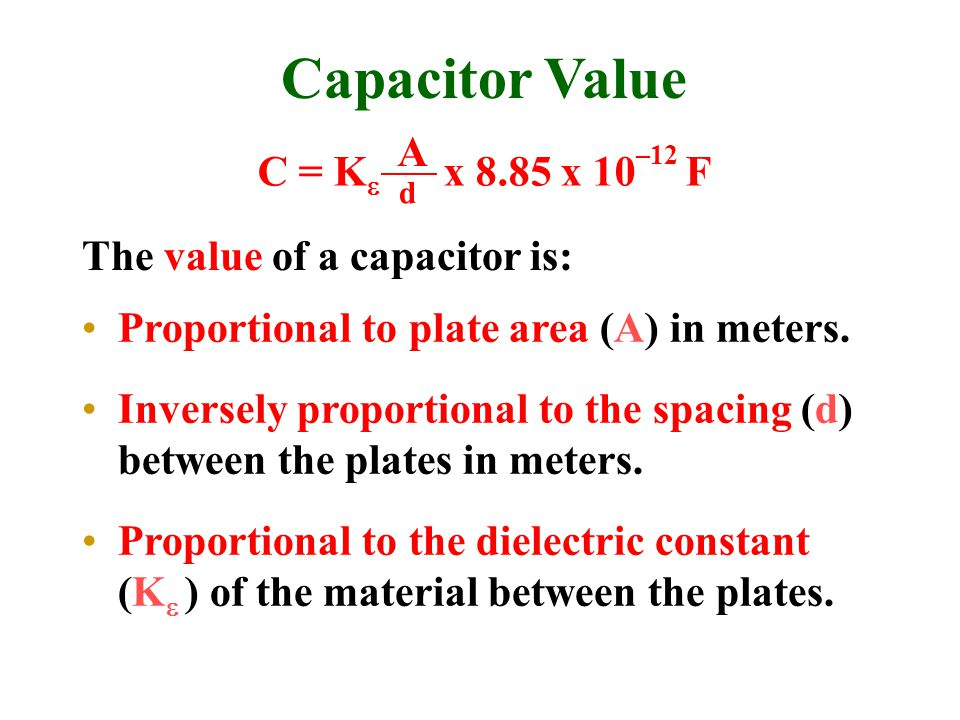 Capacitor Value Proportional to plate area (A) in meters.