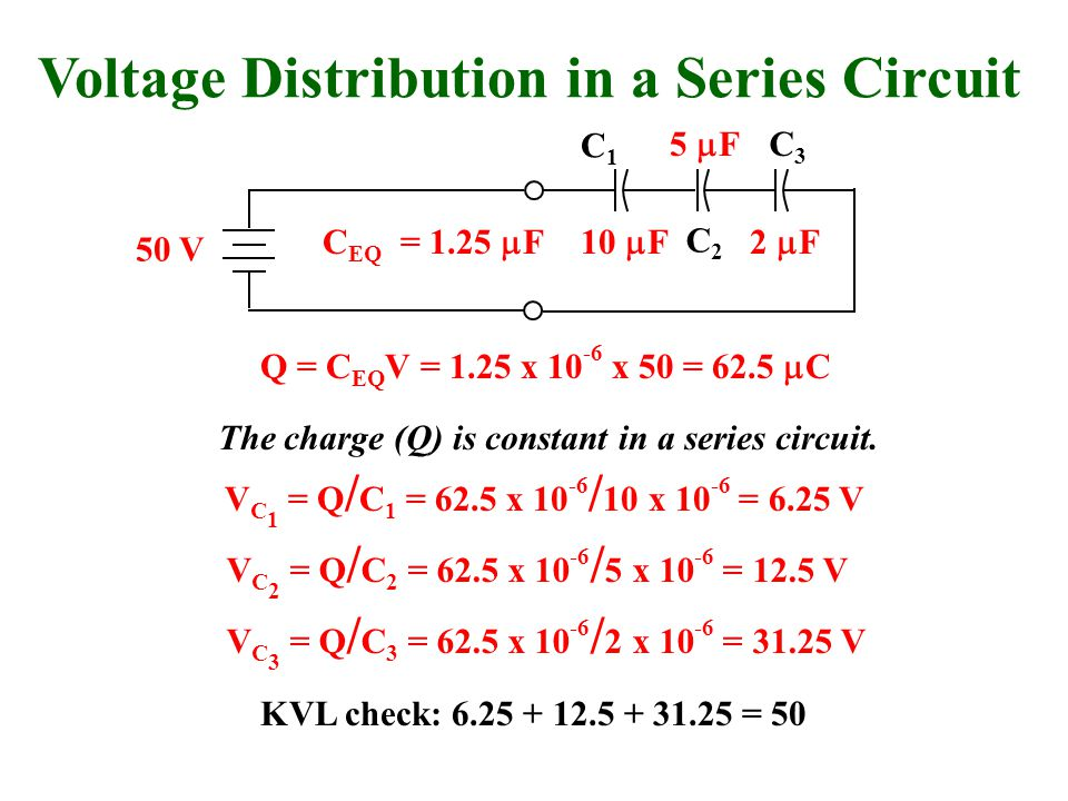 Voltage Distribution in a Series Circuit 50 V Q = C EQ V = 1.25 x 10 -6 x 50 = 62.5  C The charge (Q) is constant in a series circuit.