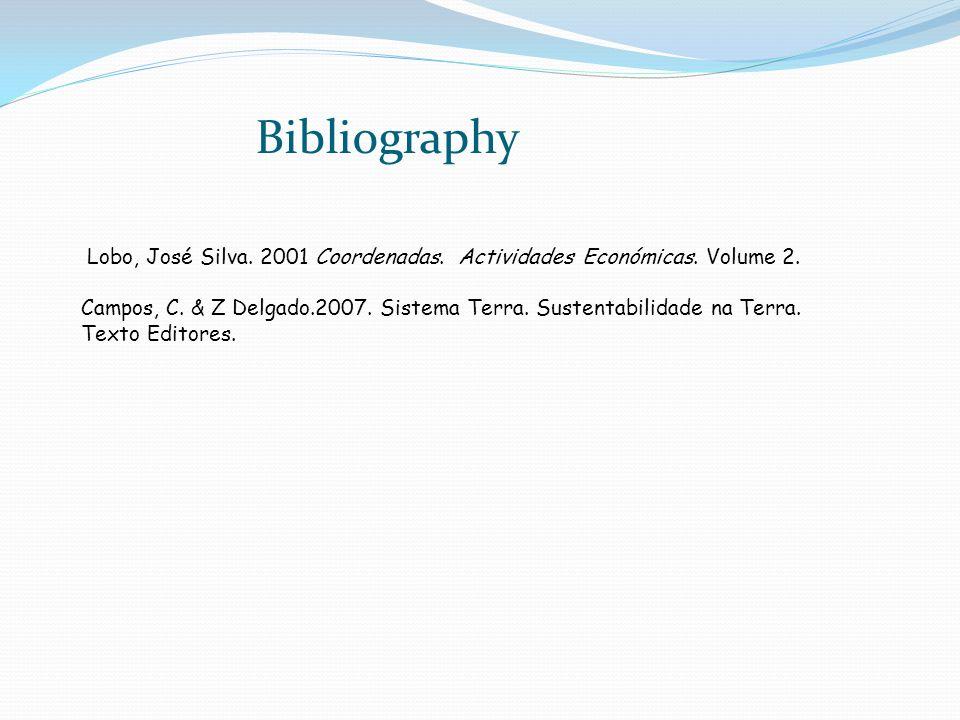 Lobo, José Silva. 2001 Coordenadas. Actividades Económicas. Volume 2. Campos, C. & Z Delgado.2007. Sistema Terra. Sustentabilidade na Terra. Texto Edi