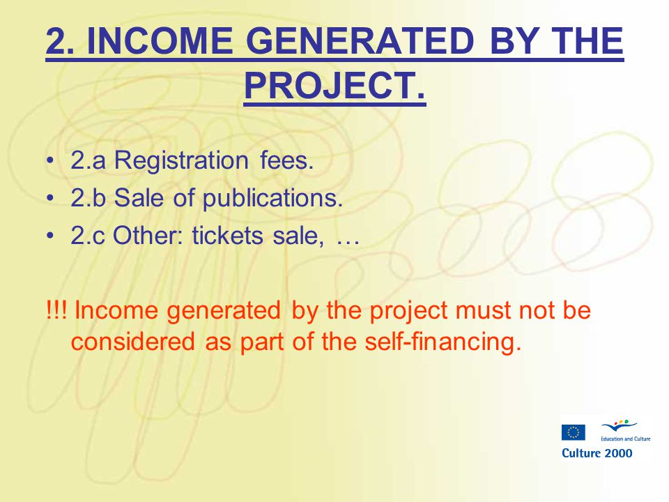 2. INCOME GENERATED BY THE PROJECT. 2.a Registration fees.