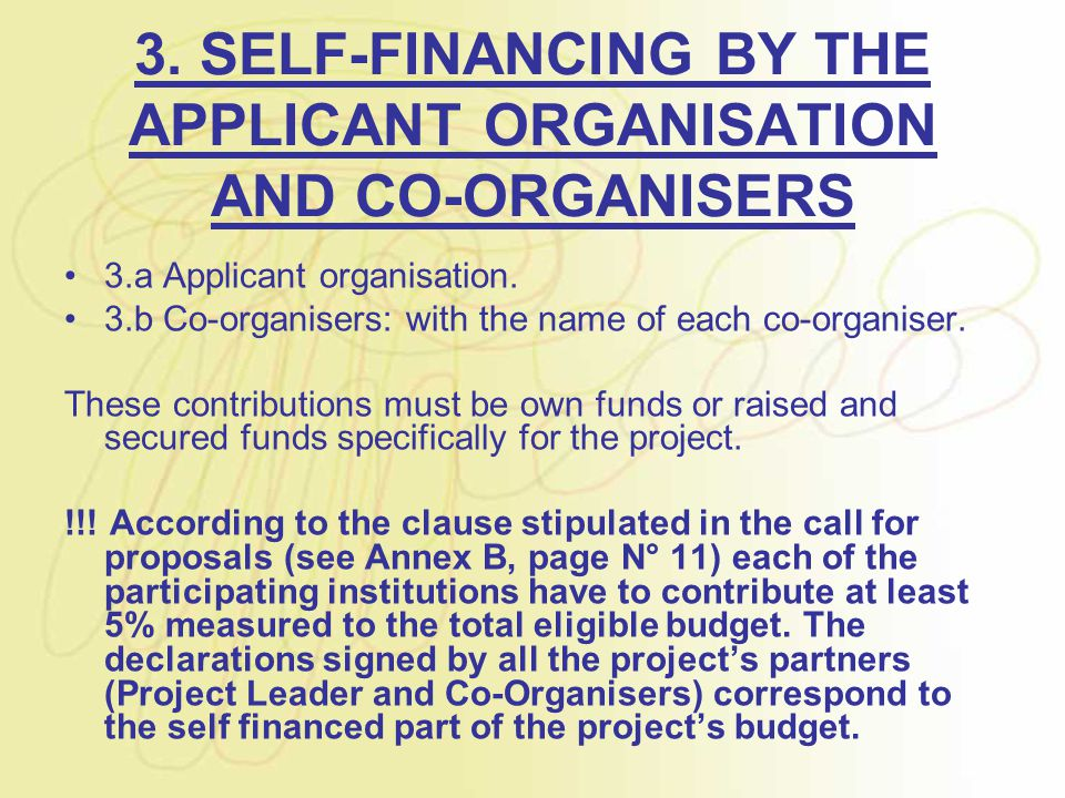 3. SELF-FINANCING BY THE APPLICANT ORGANISATION AND CO-ORGANISERS 3.a Applicant organisation.