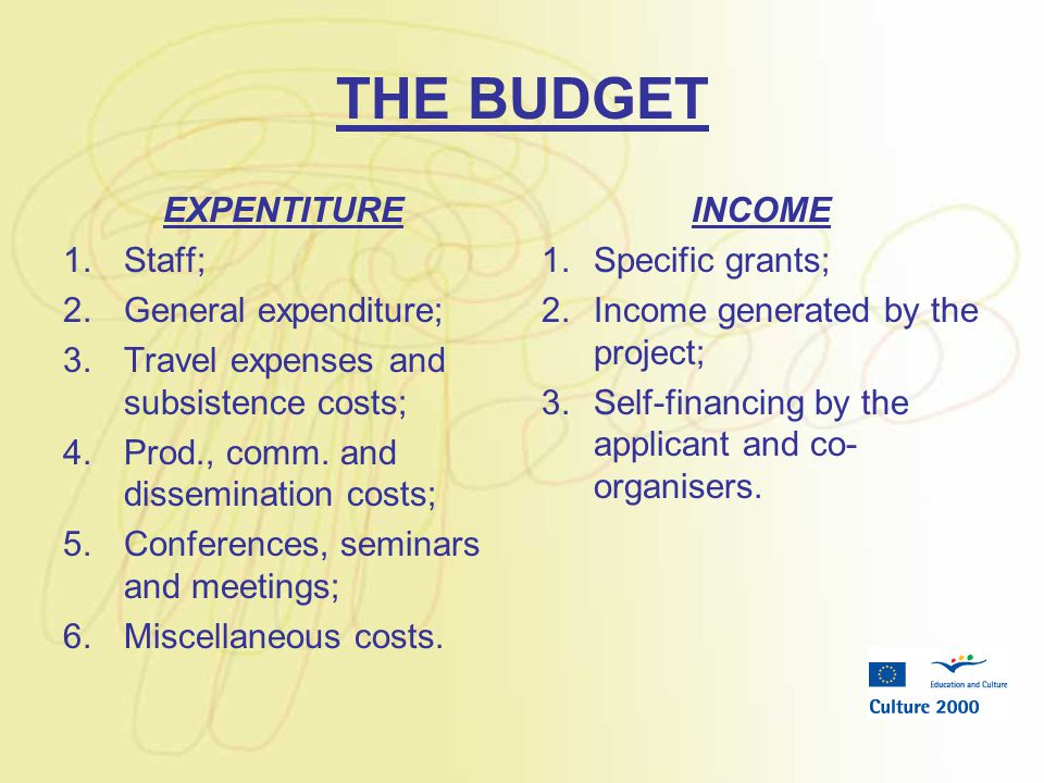 THE BUDGET EXPENTITURE 1.Staff; 2.General expenditure; 3.Travel expenses and subsistence costs; 4.Prod., comm.