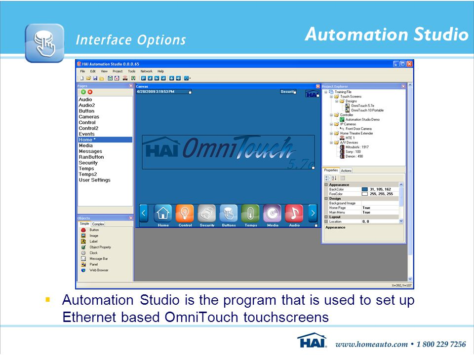 Automation Studio  Automation Studio is the program that is used to set up Ethernet based OmniTouch touchscreens