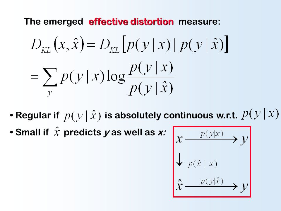 effective distortion The emerged effective distortion measure: Regular if is absolutely continuous w.r.t. Small if predicts y as well as x: