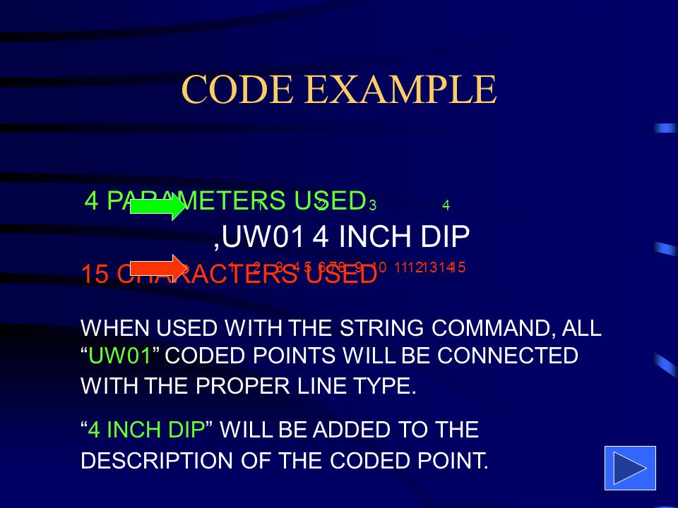 CODE FORMAT CAN NOT EXCEED 32 CHARACTERS A SPACE IS A CHARACTER AND PARAMETER DELIMETER CAN USE UP TO 9 PARAMETERS
