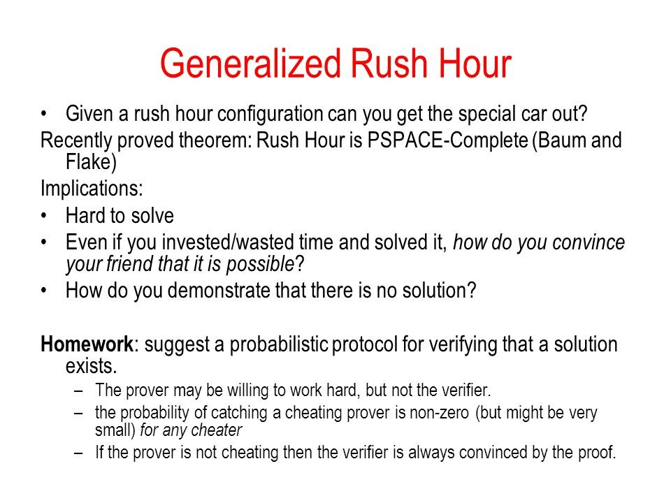 Generalized Rush Hour Given a rush hour configuration can you get the special car out.