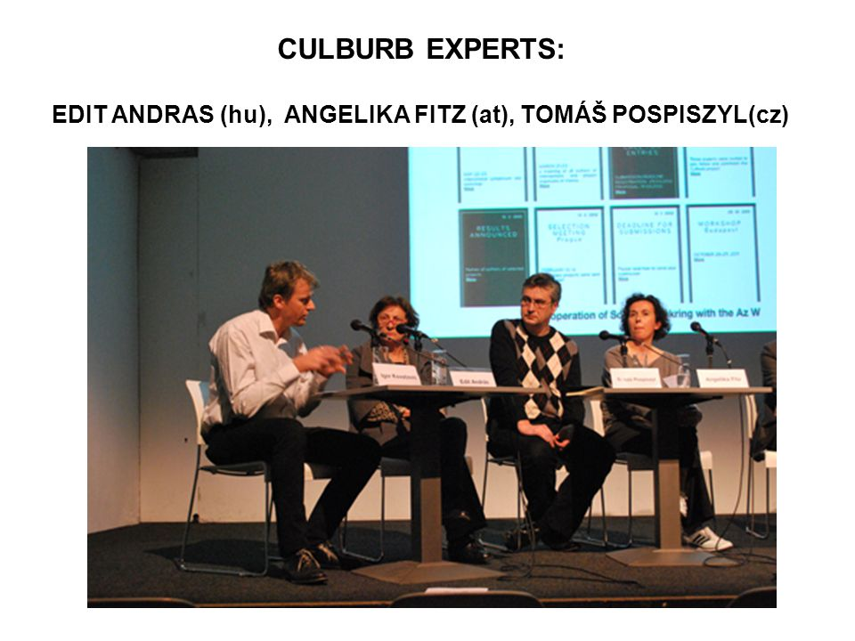 CULBURB EXPERTS: EDIT ANDRAS (hu), ANGELIKA FITZ (at), TOMÁŠ POSPISZYL(cz)