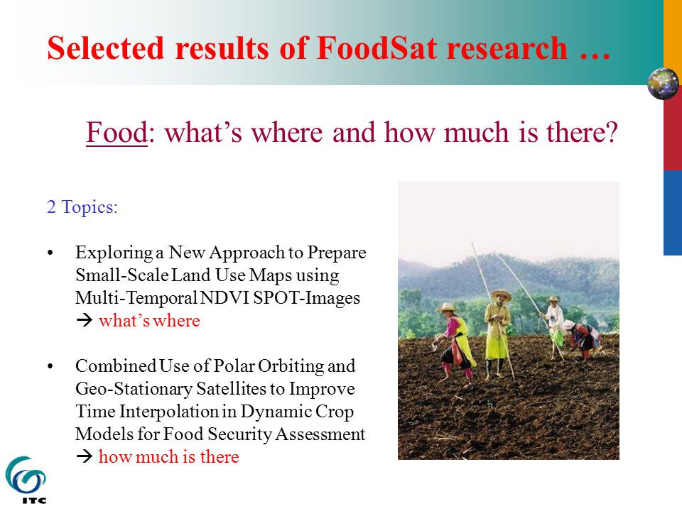 Selected results of FoodSat research … Food: what's where and how much is there.