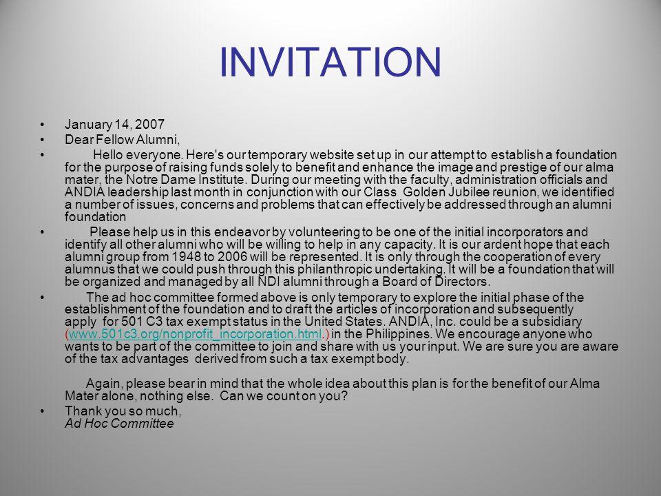 FOUNDATION INITIATORS Ad Hoc Committee Created: December 11, 2006 Ms.