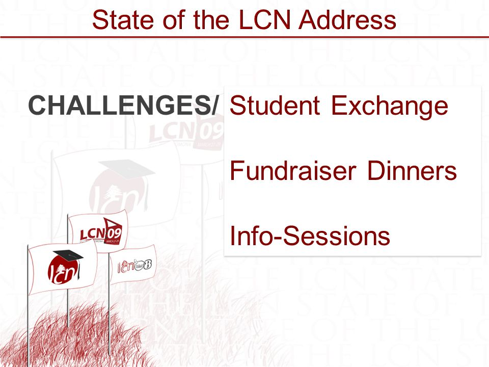 Student Exchange Fundraiser Dinners Info-Sessions Student Exchange Fundraiser Dinners Info-Sessions CHALLENGES/