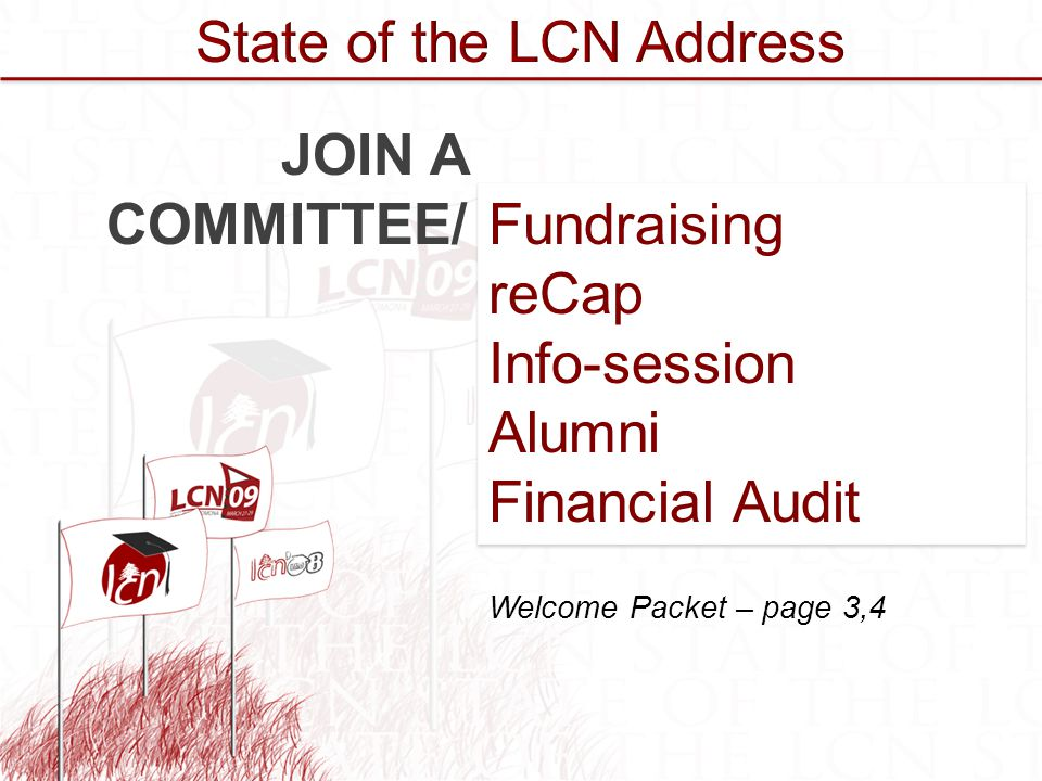 Fundraising reCap Info-session Alumni Financial Audit Fundraising reCap Info-session Alumni Financial Audit JOIN A COMMITTEE/ Welcome Packet – page 3,4