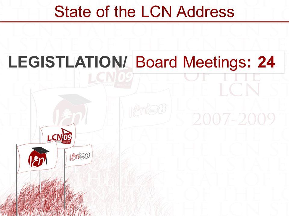 Committees: 10 Board Meetings: 24 Committees: 10 Board Meetings: 24 LEGISTLATION/