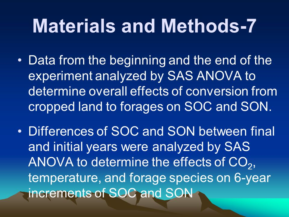 Materials and Methods-7 Data from the beginning and the end of the experiment analyzed by SAS ANOVA to determine overall effects of conversion from cropped land to forages on SOC and SON.