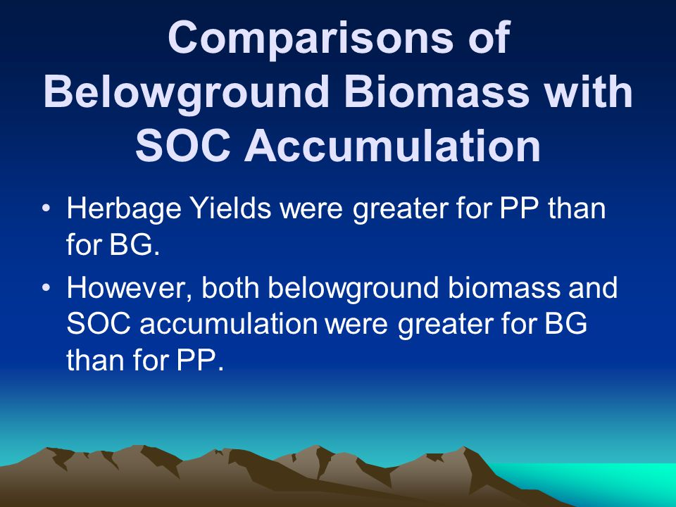 Comparisons of Belowground Biomass with SOC Accumulation Herbage Yields were greater for PP than for BG.