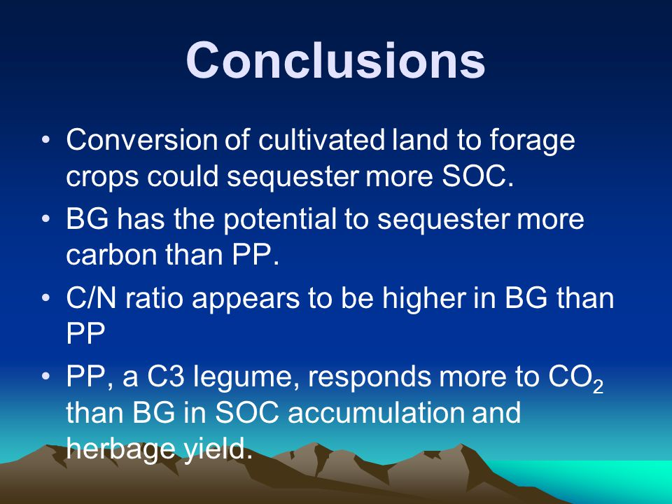 Conclusions Conversion of cultivated land to forage crops could sequester more SOC.