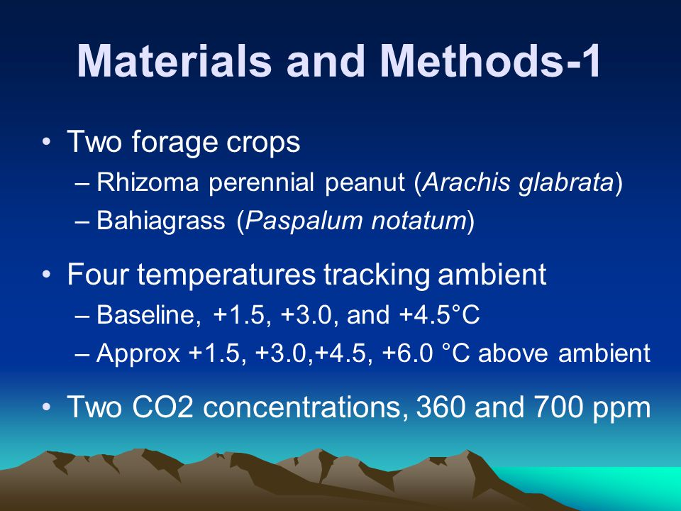 Materials and Methods-2 In April 1995, plants established in field soil in Temperature-Gradient Greenhouse (TGG) Fertilized and irrigated well
