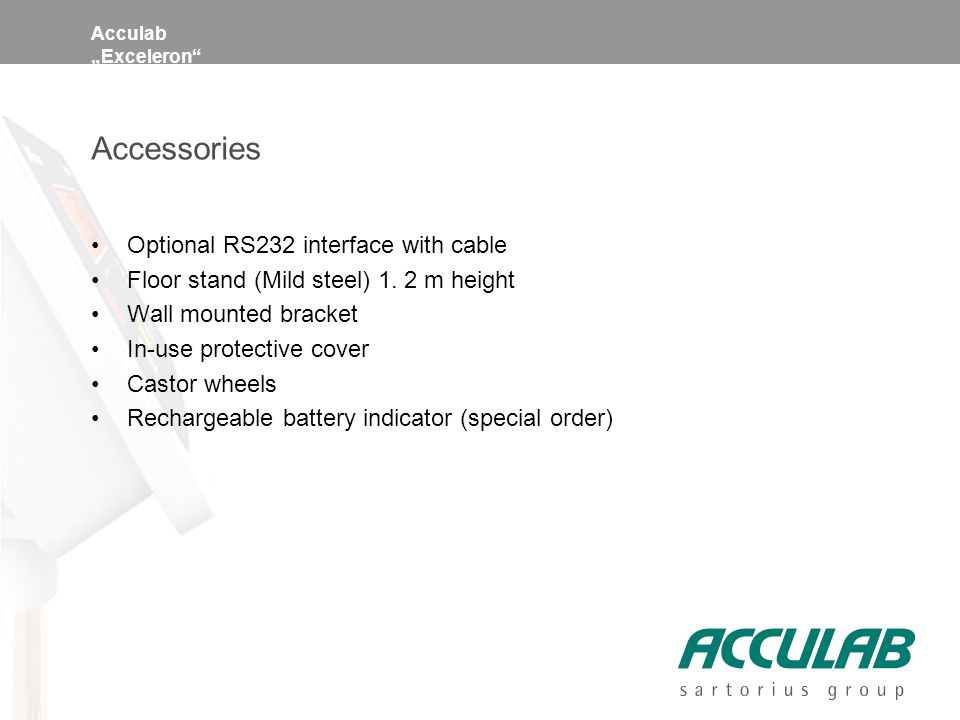 "Acculab ""Exceleron Accessories Optional RS232 interface with cable Floor stand (Mild steel) 1."