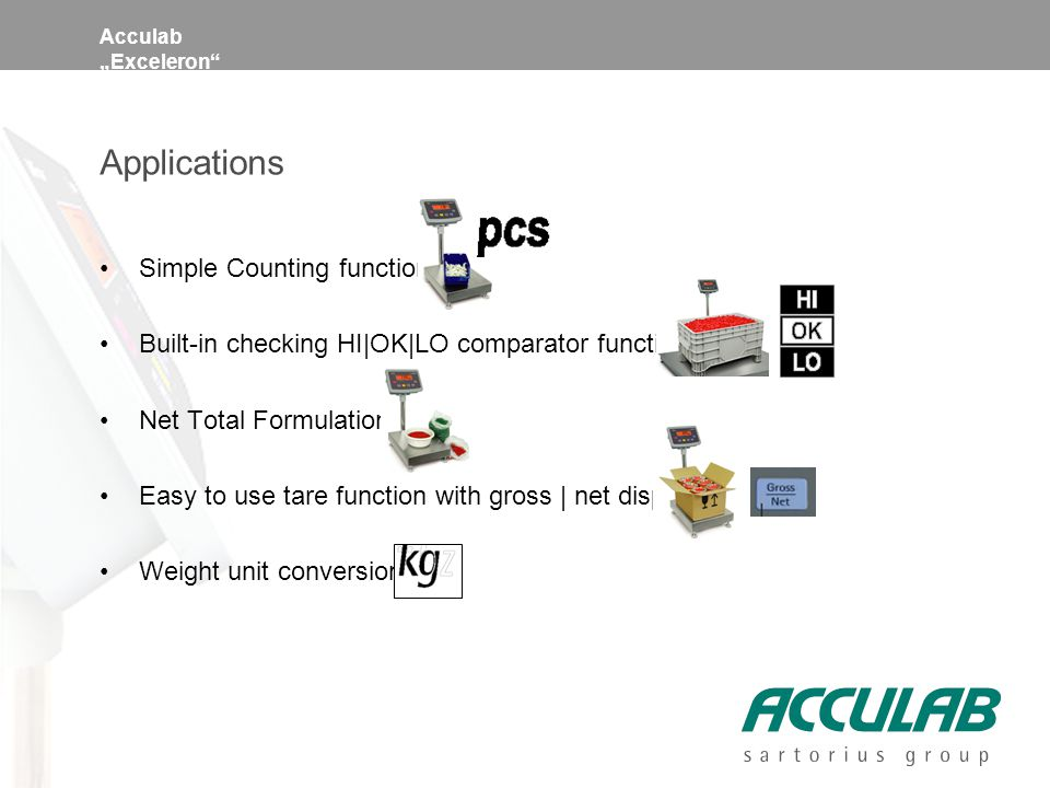 "Acculab ""Exceleron Applications Simple Counting function Built-in checking HI