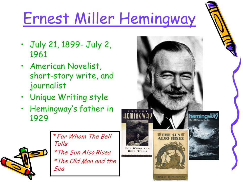 Ernest Miller Hemingway July 21, 1899- July 2, 1961 American Novelist, short-story write, and journalist Unique Writing style Hemingway's father in 1929 *For Whom The Bell Tolls *The Sun Also Rises *The Old Man and the Sea