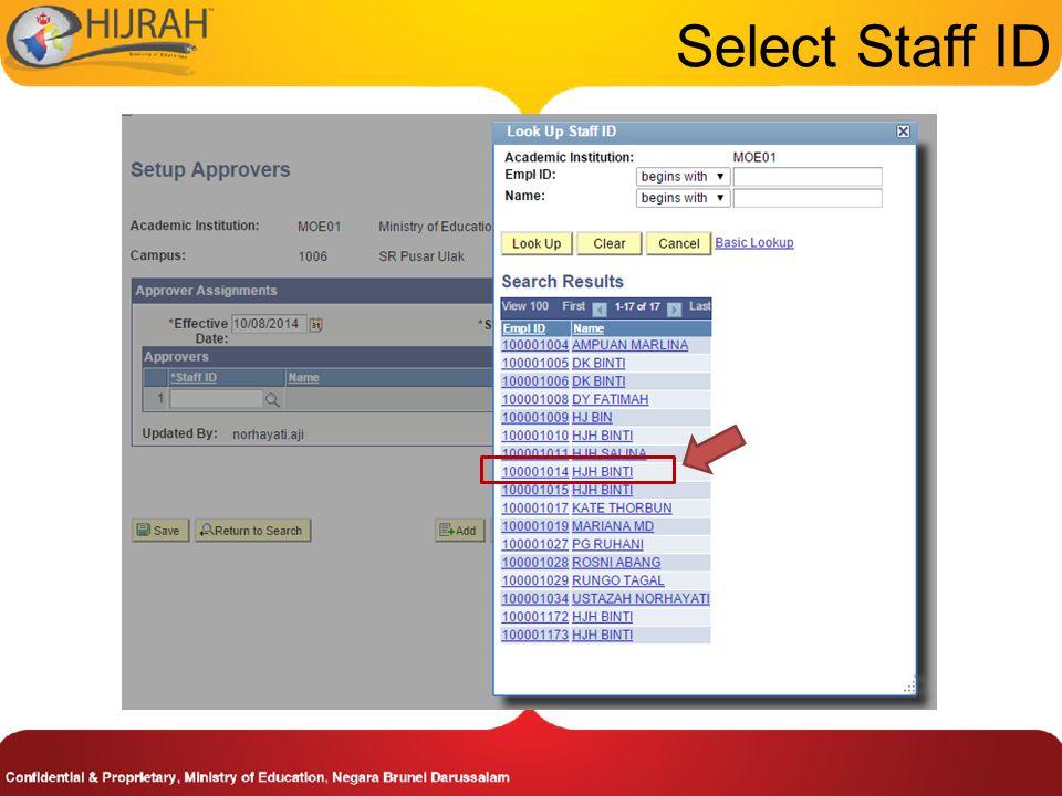 Select Staff ID